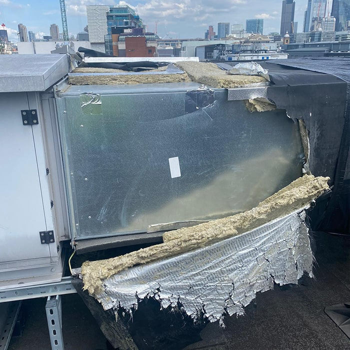 Rooftop Piping Insulation London Before